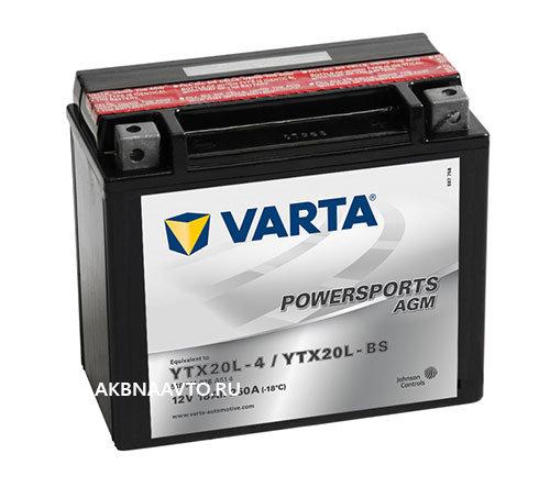 Аккумулятор для мотоцикла VARTA Funstart AGM Варта YTX20L-4 YTX20L-BS